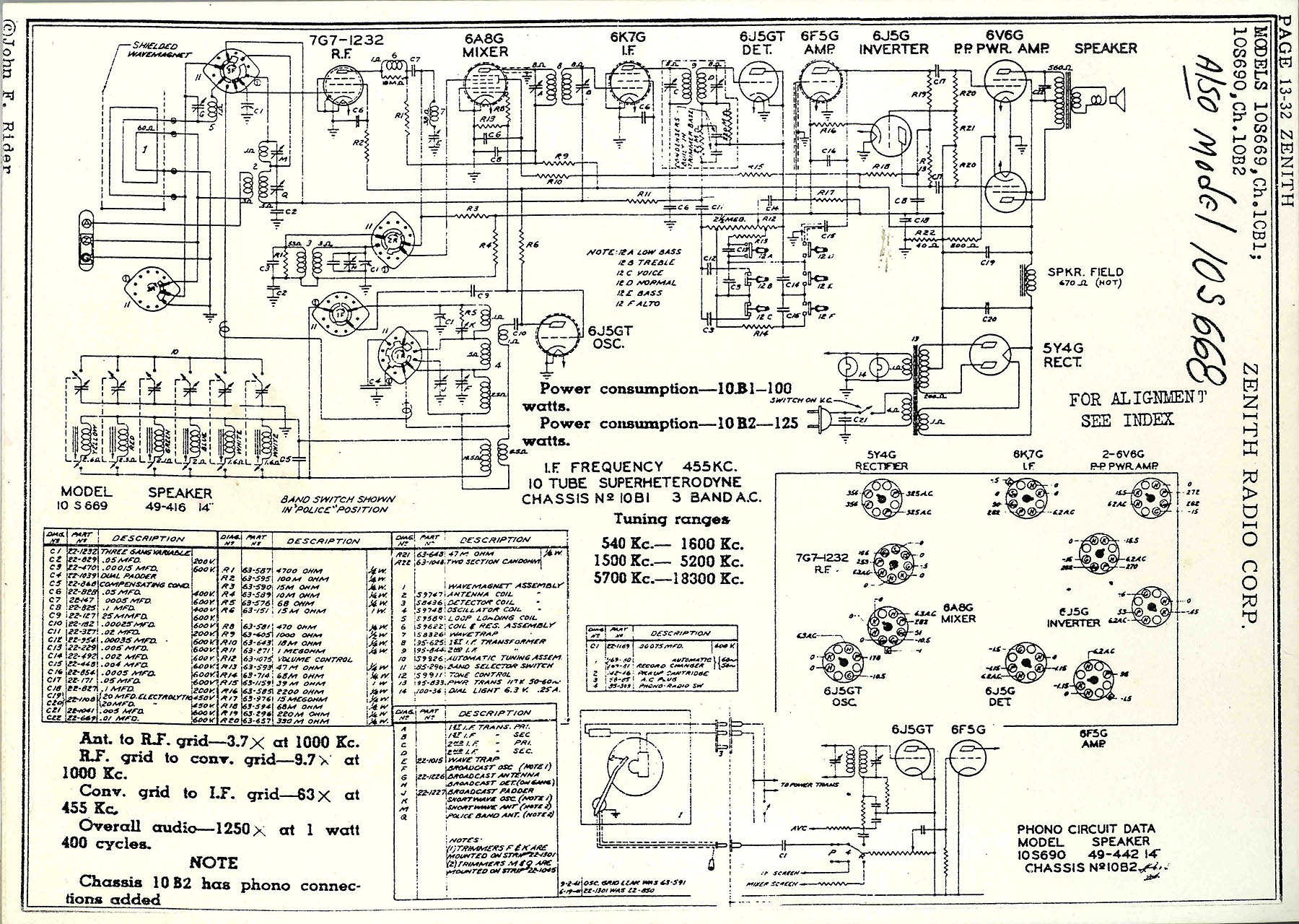 Circuit Diagram For The 1938 Zenith Model 10s668 Console Radio A Wire This 10 Tube 3 Band Tunes Broadcast Shortwave Signals From 550 Khz To 18mhz
