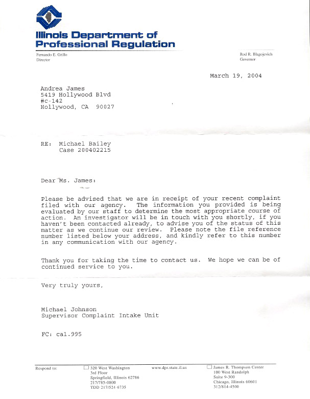 Professional complaint letter 28 images complaint letter sle in complaints filed against j michael bailey for practicing expocarfo Image collections